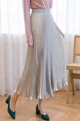 P8378サテンプリーツバンディングロングスカート(5color)