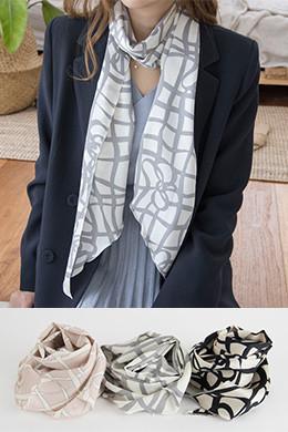 P8435ナチュラルラインパターンロングスカーフ