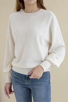 P8399カシミヤウール混バルーン袖長袖Tシャツ
